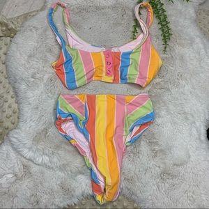Lolli Bikini Top Bottom XS Stripe Rain Shine